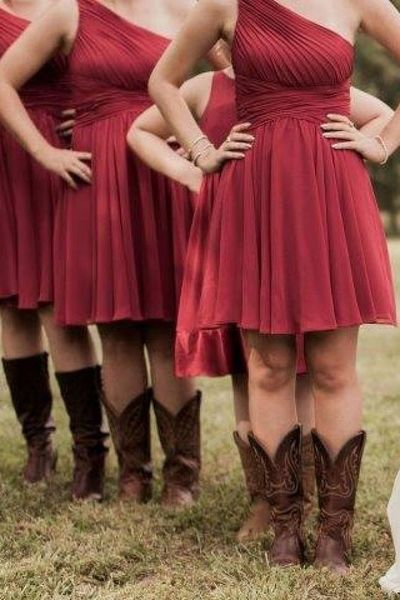 Knee length One Shoulder Burgundy Bridesmaid Dress