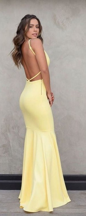 Spaghetti Straps Light Yellow Long Prom Dress - daisystyledress