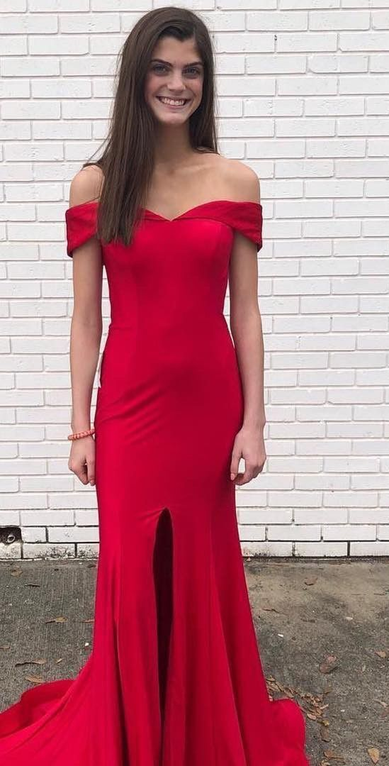 A line Off Shoulder Sleeves Red Slit Evening Party Dress - daisystyledress