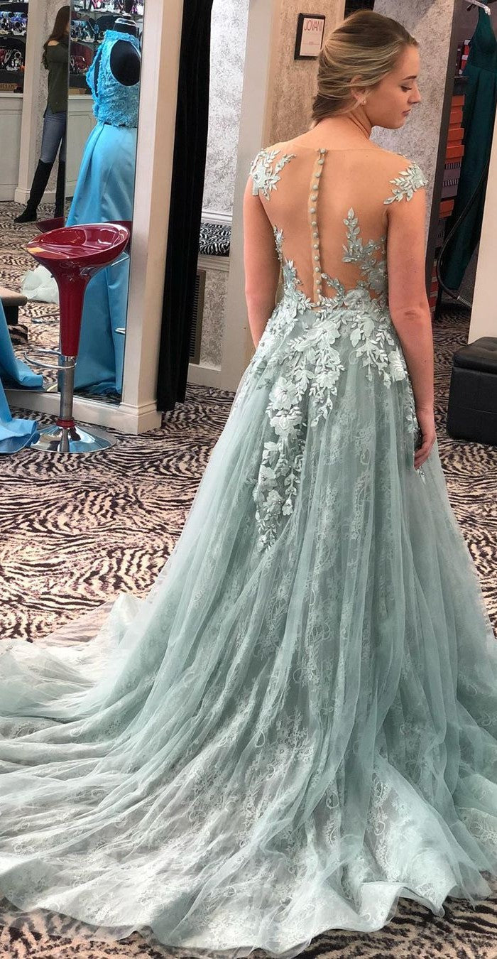 High Quality French Lace Illusion Prom Dress - daisystyledress