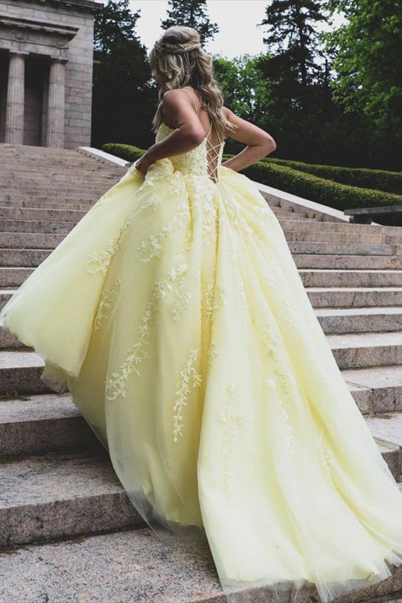 yellow ball gown prom dress