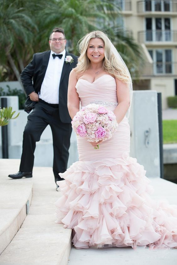 Mermaid Blush Pink Wedding Dress - daisystyledress