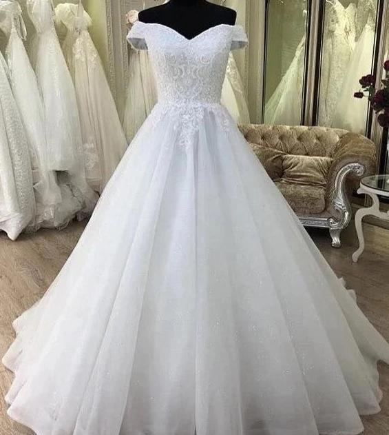 Ball Gown Off Shoulder Sleeve Wedding Dress - daisystyledress