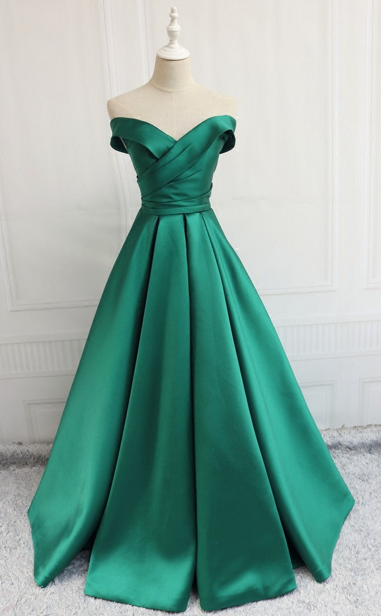 Ball Gown Off Shoulder Sleeve Green Prom Dress - daisystyledress