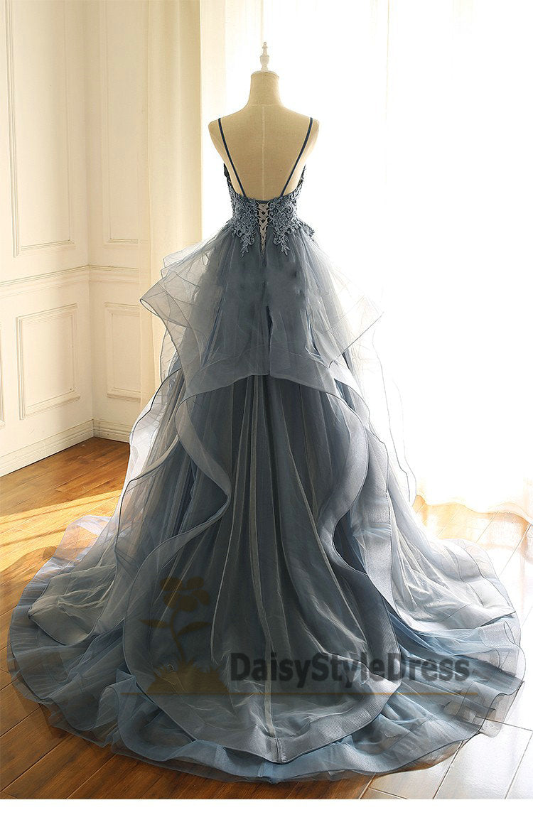 Ball Gown Spaghetti Straps V-neck Prom Dress with Tiered Skirt - daisystyledress