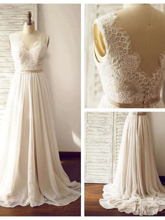 Full Length Summer V-back Lace Wedding Dress - daisystyledress