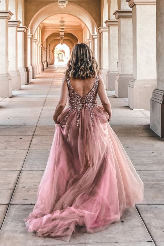 dusty pink prom dress