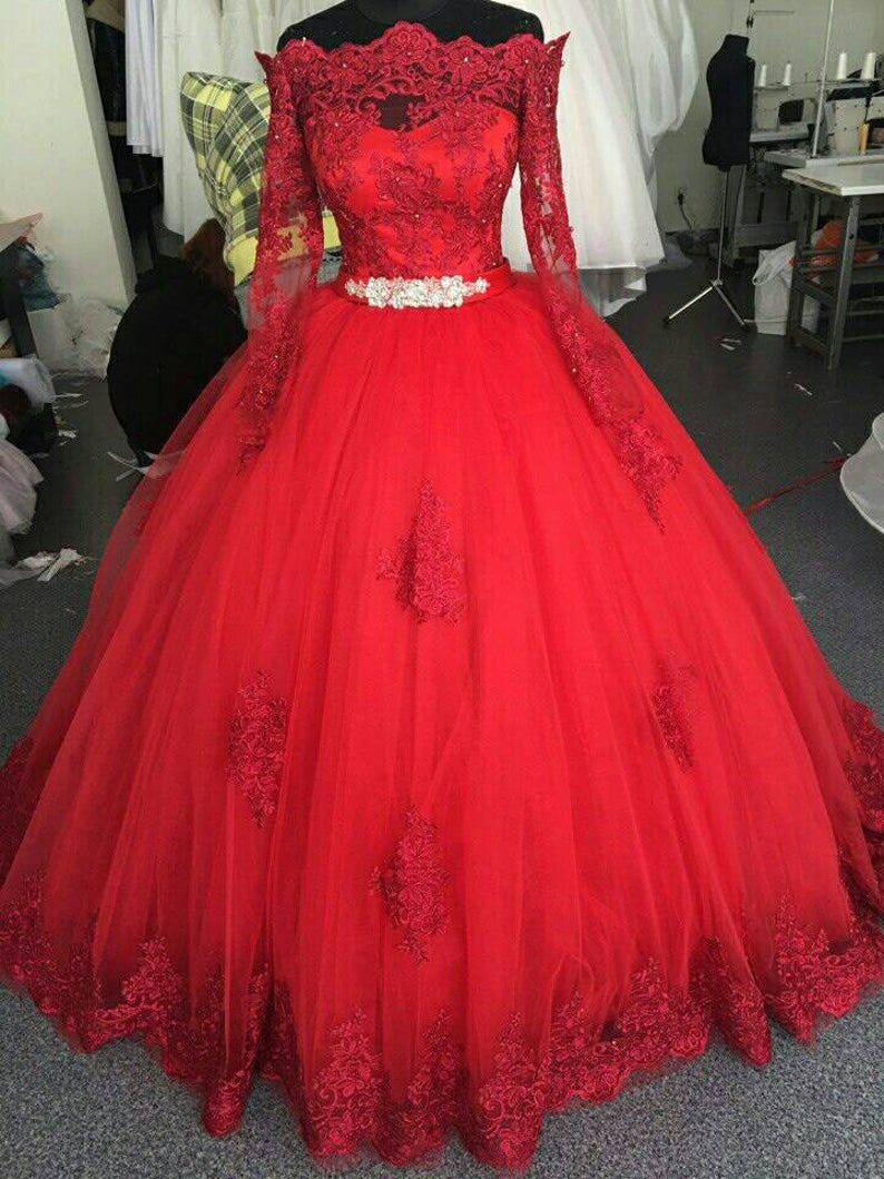Modest Long Sleeve Red Lace Wedding Dress