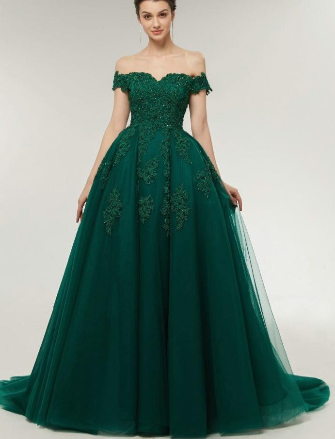 Ball Gown green prom dress