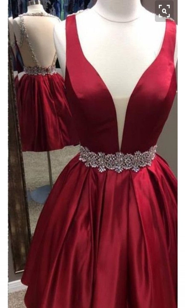 Knee Length Open Back Red Homecoming Dress - daisystyledress
