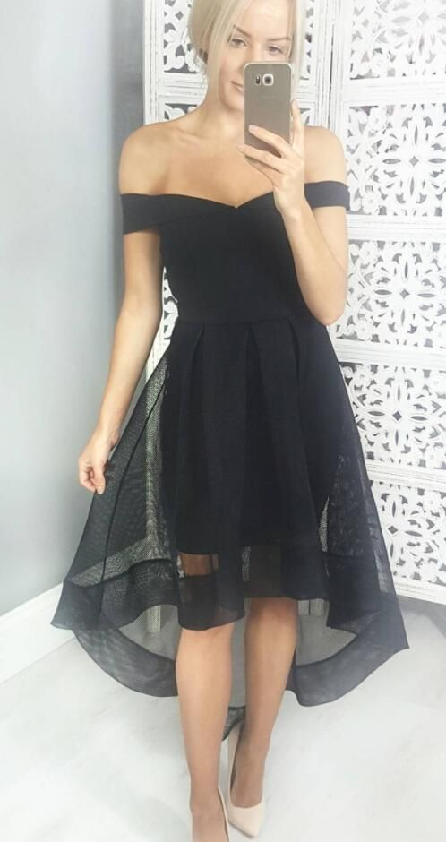 High Low Off Shoulder Sleeves Black Homecoming Dress - daisystyledress