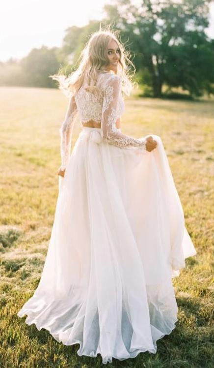 A line Two Pieces Long Sleeve Wedding Dress - daisystyledress