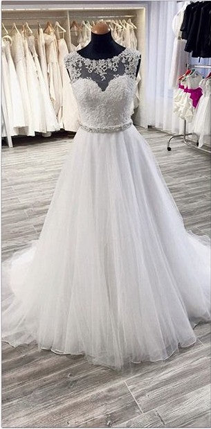 A line Illusion Lace Wedding Dress - daisystyledress