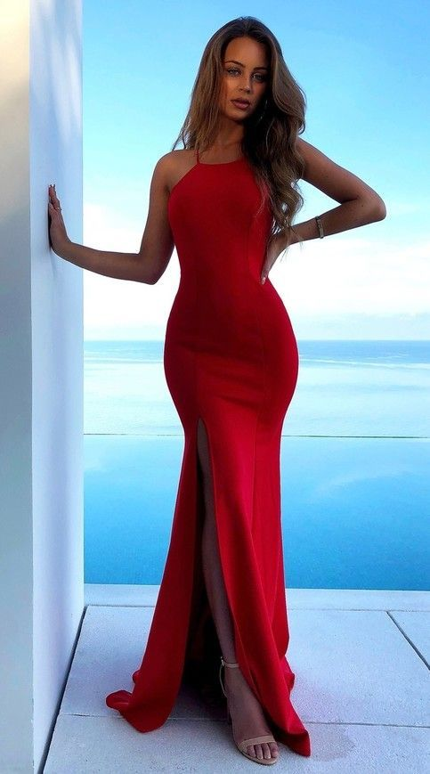 Sexy Sheath Spaghetti Straps Slit Red Evening Dress - daisystyledress