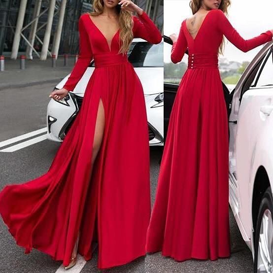 Sexy Slit Deep V-neck Long Sleeve Red Evening Party Dress - daisystyledress