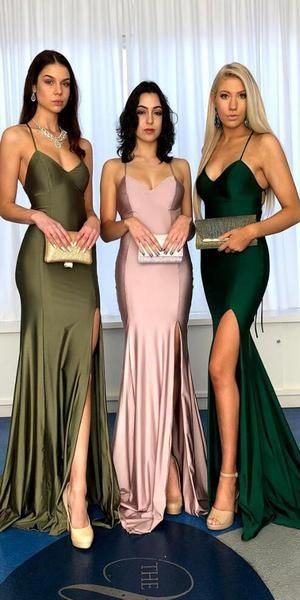 Sexy Spaghetti Straps Slit Cheap Prom Dress - daisystyledress
