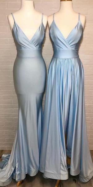 Spaghetti Straps Light Blue Prom Dress - daisystyledress