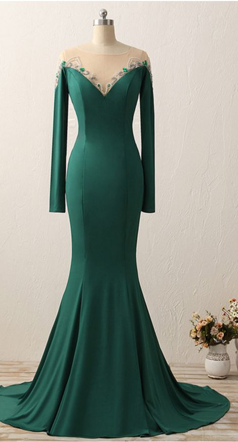 Mermaid Off Shoulder Long Sleeve Green Evening Dress - daisystyledress