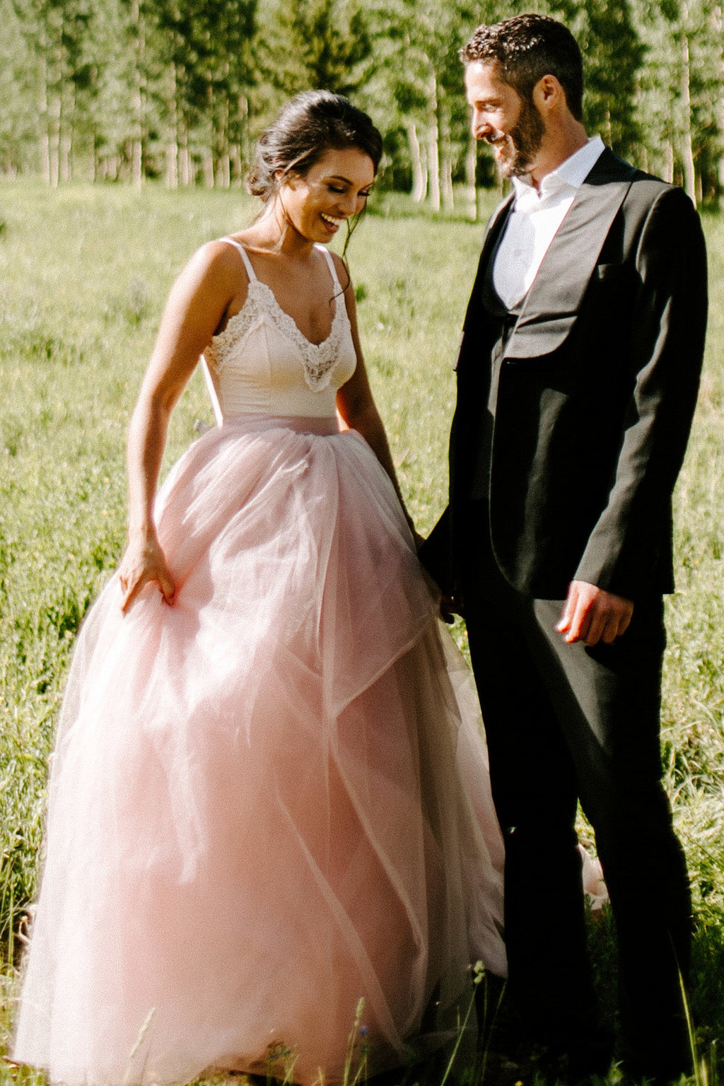 blush pink outdoor wedding dress