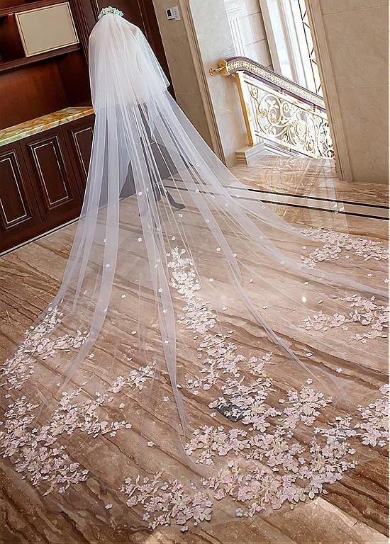 Custom Long Tulle and Lace Wedding Veil - daisystyledress