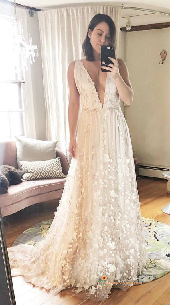 lace floral bohemain wedding dress