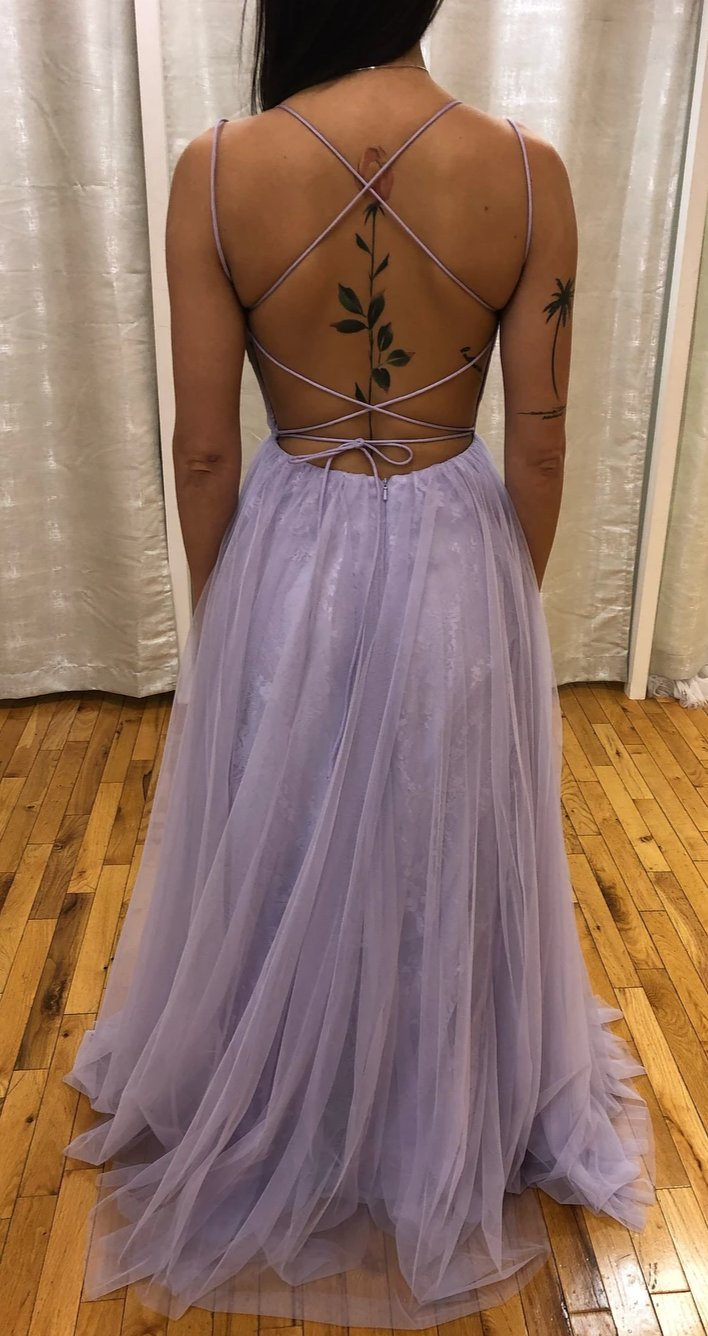 Spaghetti Straps Lavender Prom Dress - daisystyledress