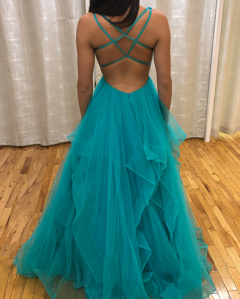 Ball Gown Backless Tiered Skirt V-neck Prom Dress - daisystyledress