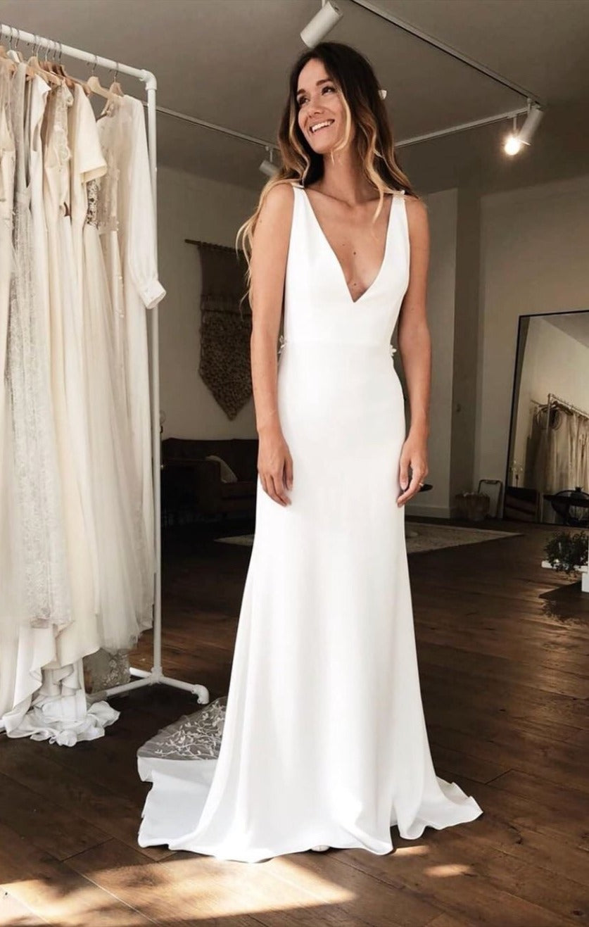v-neckline wedding dress