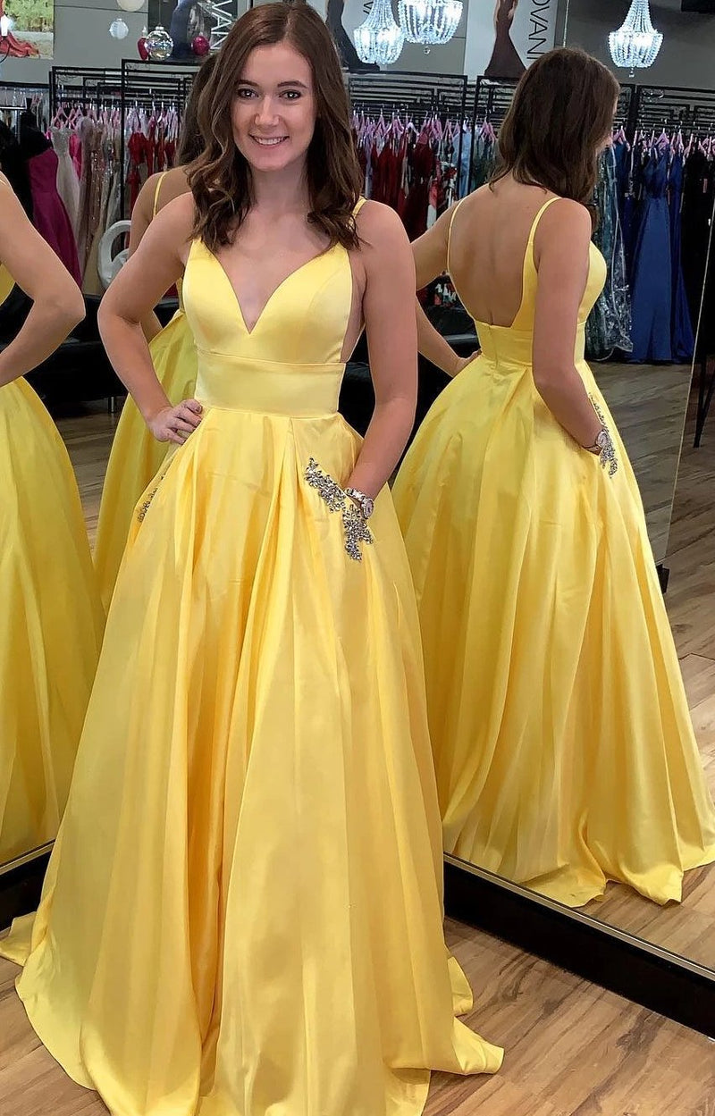 Fashion Open Back Spaghetti Straps Yellow Prom Dress - daisystyledress