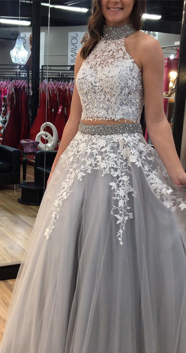 Fashion Two Pieces Silver Tulle and Lace Prom Dress - daisystyledress