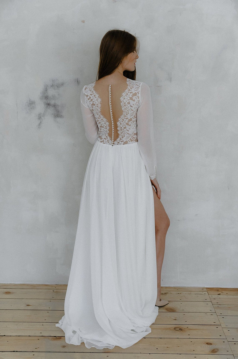 sexy back lace wedding dress
