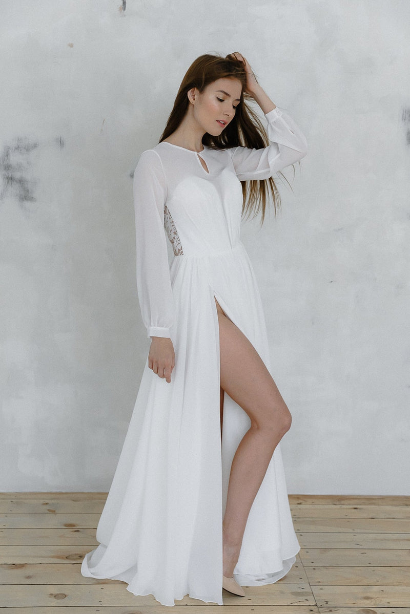 sexy slit beach wedding dress