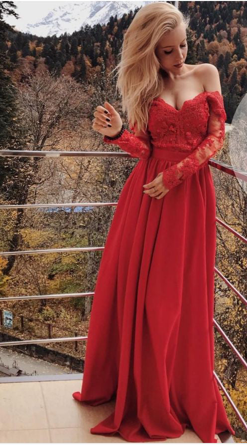 A line Red Lace Long Sleeves Prom Dress - daisystyledress