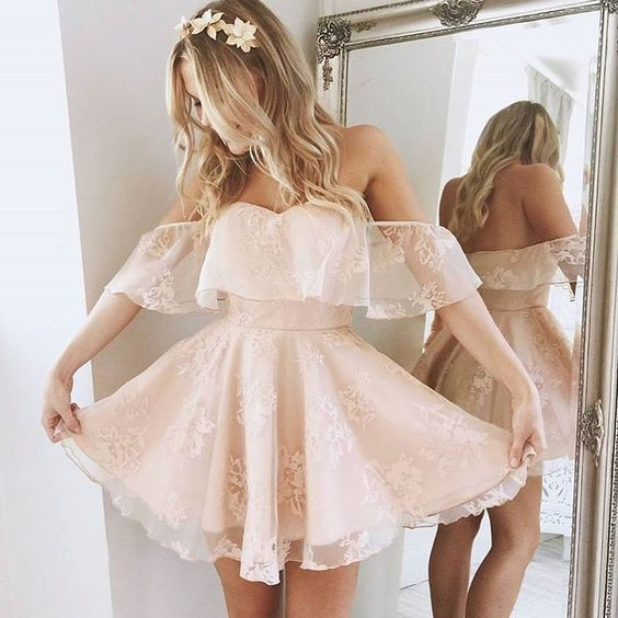 Short Off Shoulder Sleeves Blush lace Homecoming Dress