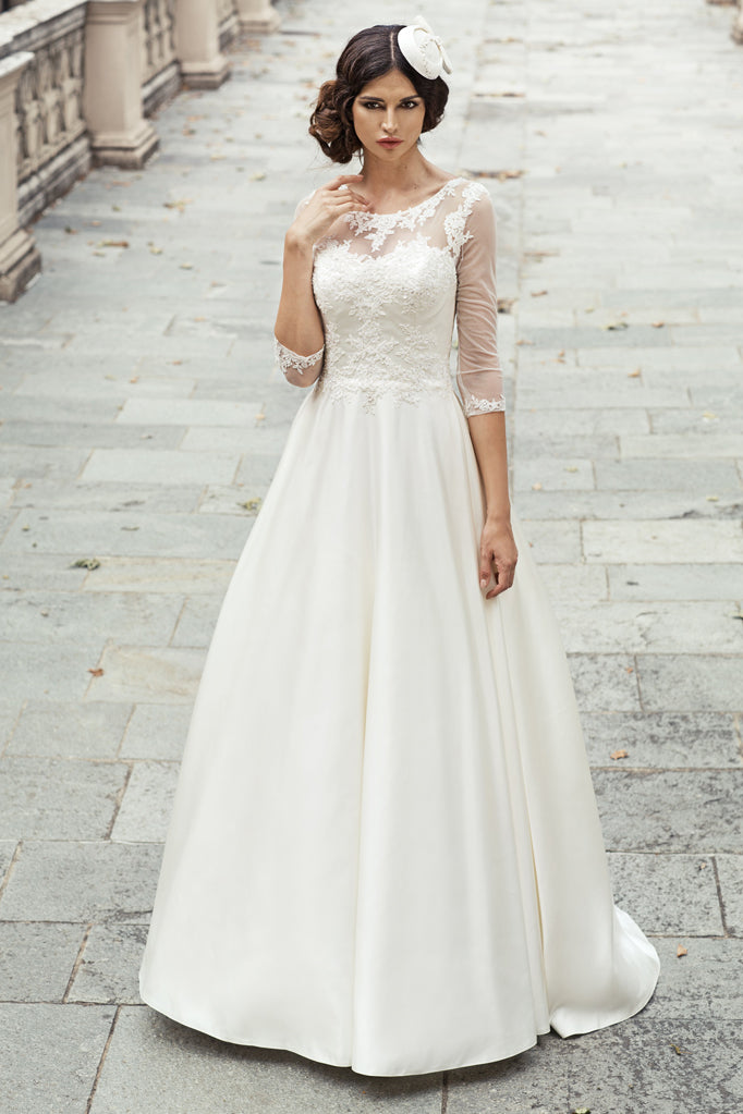 Modest Long Sleeve Lace Bridal Dress - daisystyledress