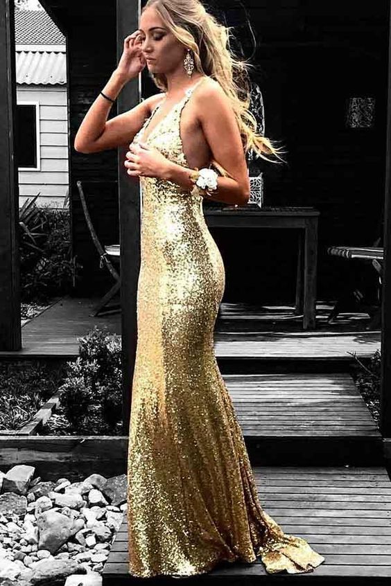 Sheath Deep V-neckline Open Back Gold Sequins Evening Dress - daisystyledress