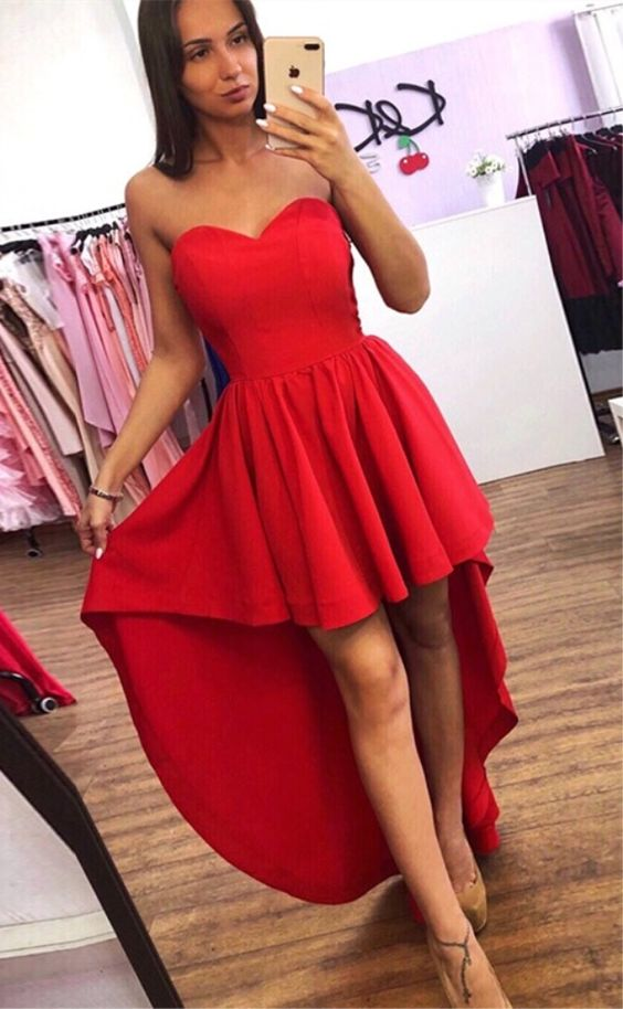 Sexy Sweetheart High Low Red Prom Dress - daisystyledress
