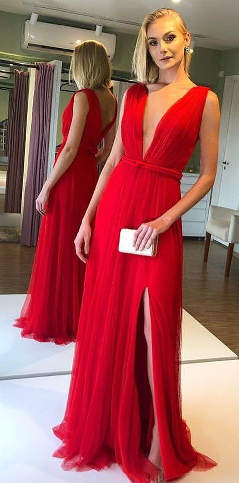 A line Sexy Slit V-neckline Red Evening Dress - daisystyledress