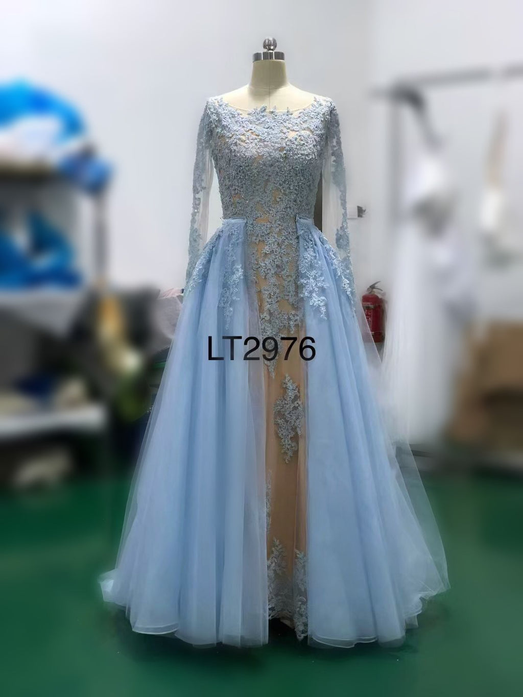 Full length Long Sleeves Light Blue Formal Party Dress - daisystyledress