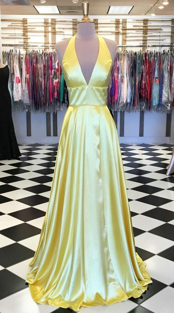 Modest V-neckline Yellow Prom Dress - daisystyledress