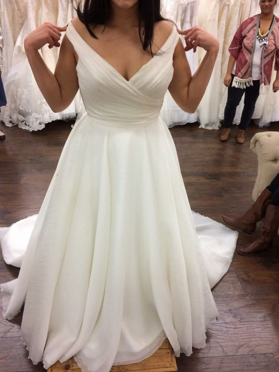 Sexy Off Shoulder Sleeves Plus Size Wedding Dress - daisystyledress