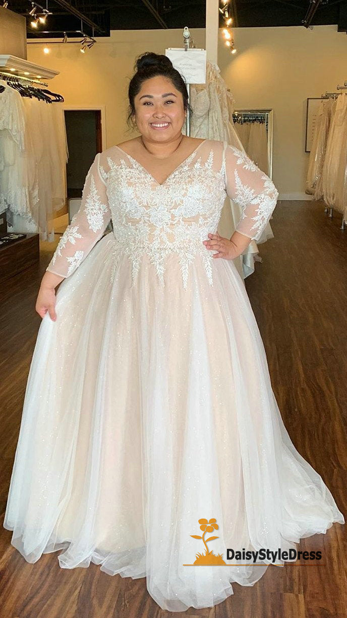 Modest Long Sleeve Plus Size Wedding Dress - daisystyledress