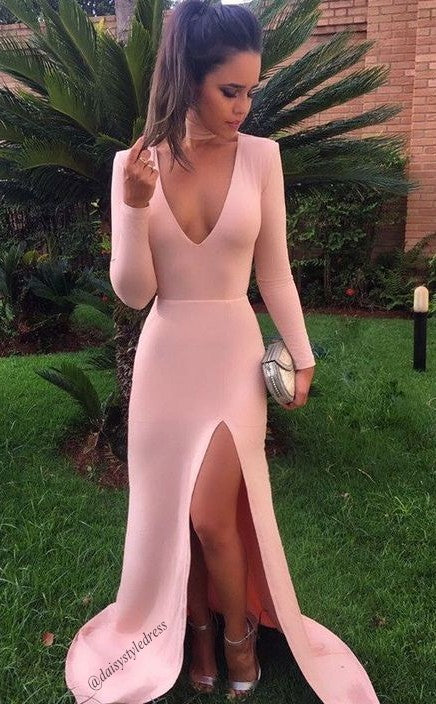 Sexy Slit Long Sleeves Hot Pink Prom Dress