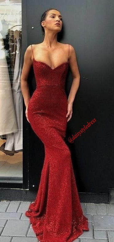 Mermaid Spaghetti Straps Burgundy Sequins Prom Dress - daisystyledress