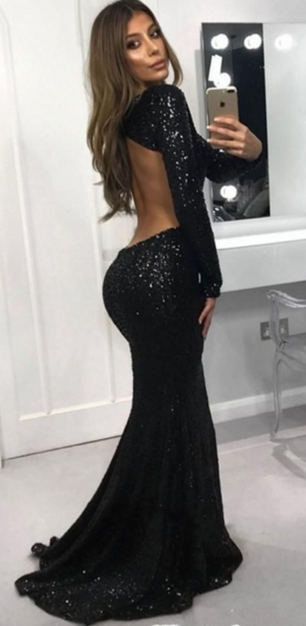 Elegant Long Sleeve Black Sequins Evening Dress - daisystyledress