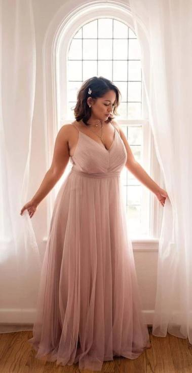 A line Spaghetti Straps Blush Plus Size Bridesmaid Dress - daisystyledress