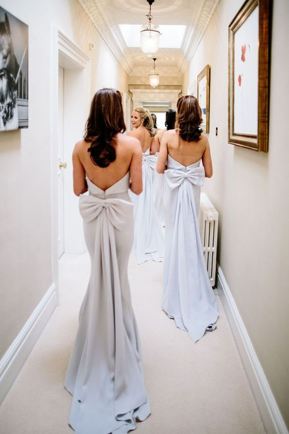 Sheath Strapless Silver Bridesmaid Dresses - daisystyledress
