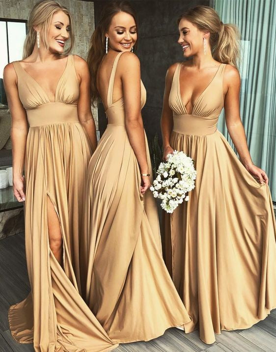 Sexy V-neckline Champagne Slit Bridesmaid Dress - daisystyledress