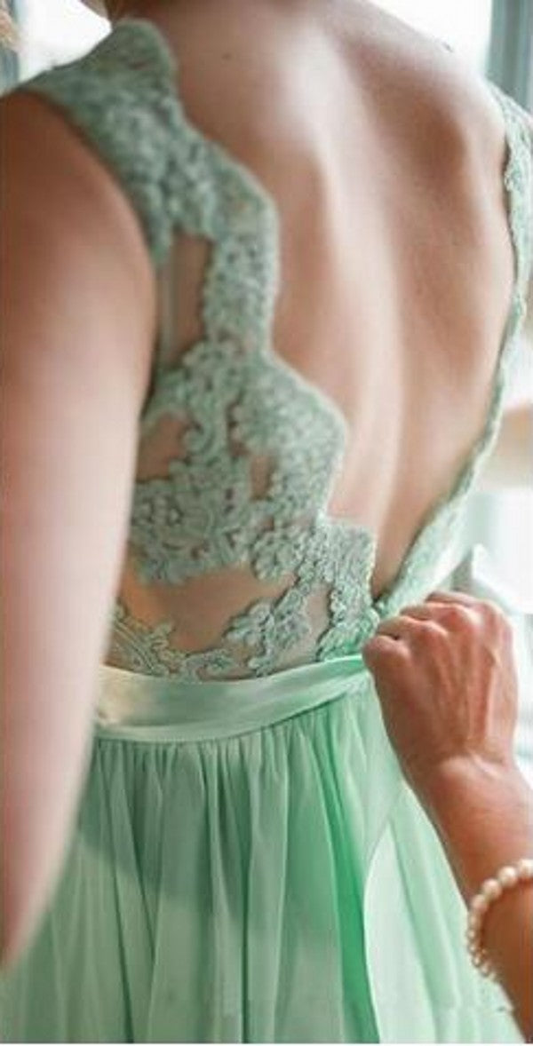 Long V-back Mint Green Lace Bridesmaid Dress - daisystyledress