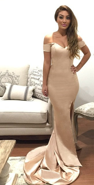 Sexy Slit Sheath Nude Evening Dress - daisystyledress